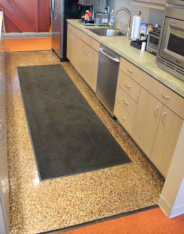 Countertop Paint Flakes : The coated kitchen floor at the corporate headquarters of Lamar ...