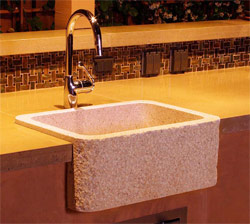 Concrete Countertops created a basin sink that is custom and exactly what the homeowner requested.