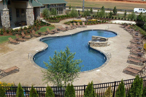 A large pool surrounded by stamped concrete pool deck and luscious greenery.