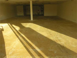 A look at a space before the concrete restoration of the floor was complete.