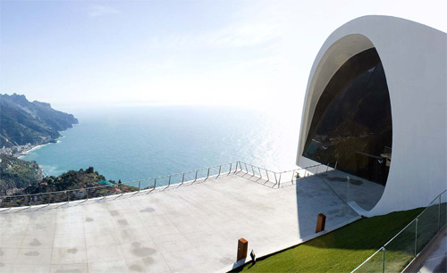 Breathtaking ocean views from a large concrete terrace in Ravello Italy. Photos courtesy of Ideal Work