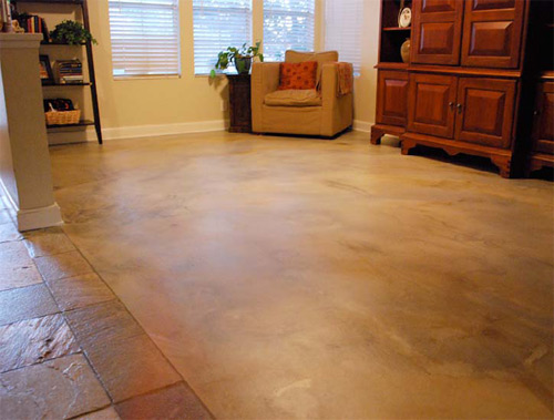 It was hard enough to walk on and stain within a few hours. The floor was stained with Westcoat SC-35 Water-Based Stain and Sealed with EC-11 Water-Based Epoxy and EC-96 Satin Polyurethane Topcoat.