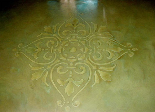 Todd Seaboch of Concrete Craftsmen, in Santee, Calif., created this intricate design using acid stain, EC-31 epoxy and EC-96 Satin Polyurethane over TC-25 self-leveling material, all from Westcoat.