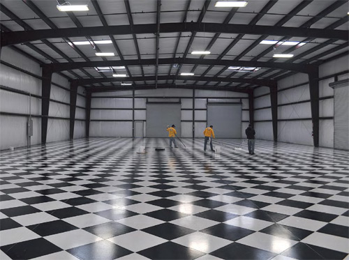 The first thing you'll notice about this private garage in Modesto, Calif., is how incredibly flawless the checkerboard pattern looks.