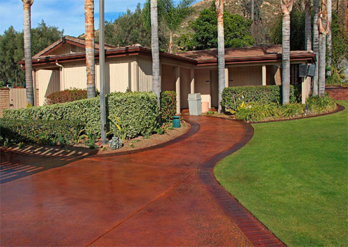Sycuan Resort Driveway and walkway two tone stained concrete. Photos courtesy of Concrete Solutions