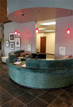 To serve as the focal point of their lobby, the Oklahoma Allergy and Asthma Clinic wanted a reception desk graced with a one-of-a-kind countertop.