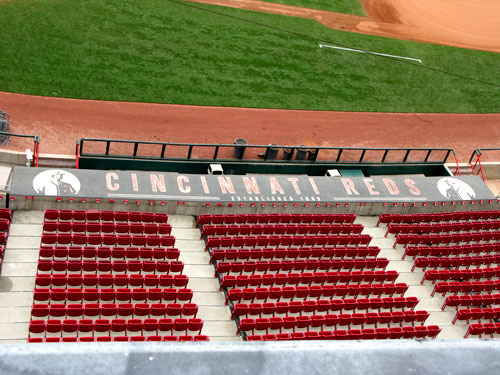 Dugout roof of the Cincinnati Reds.
