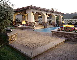 Outdoor patio that is covered by a gazebo.