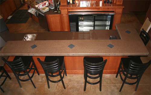 A kitchen bar-surround countertop by Innovative Concrete Technologies. It was made with 25 percent CSA cement.