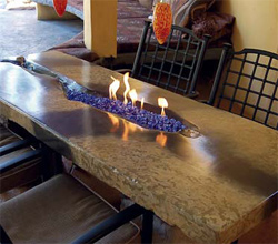 Barbecue island and fire table in Northridge, Calif.