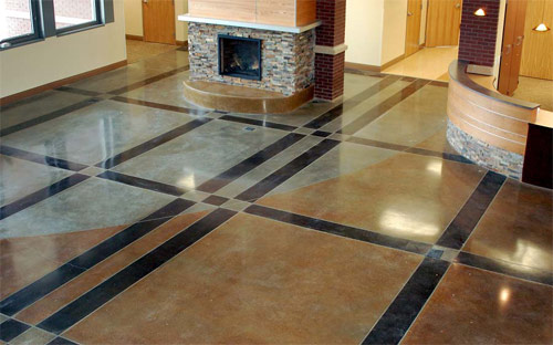 Colorado Mountain School stained concrete project. Photos courtesy of Colorado Hardscapes Inc.