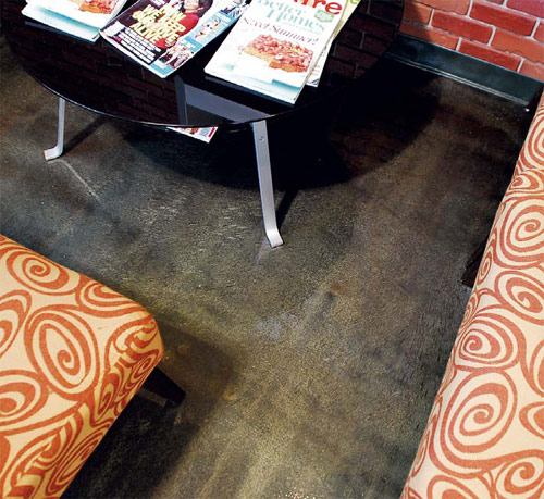 Epoxy floor coatings are coming out of the garage and into showrooms, restaurants and commercial spaces like this hair salon, where beauty, durability and chemical resistance are high priorities.