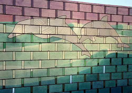 Mona Park Pool Mural - Although he does many of his murals with ceramic tiles, he felt that concrete would lend a more classic appeal to this project.