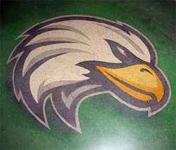 A picture of an eagle head that has been embedded into this concrete floor with concrete dyes.