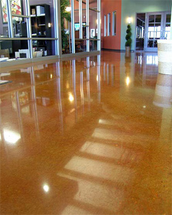 Orange brown concrete that has been polished fora high gloss.