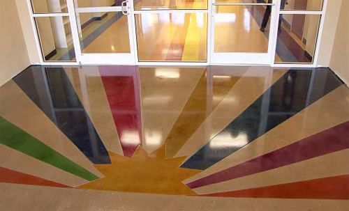 Concrete dyes were used to create a sunrise affect on this concrete floor.