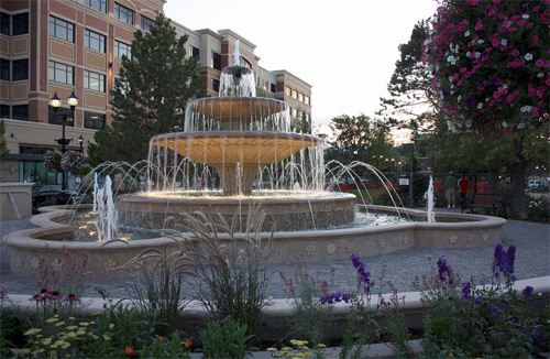 In the old world, such a fountain would have been carved from stone. In modern-day Colorado, builders used glass-fiber reinforced concrete.